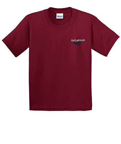 NCAA Arkansas Razorbacks Girls Patterned Heart Short Sleeve Cotton T-Shirt, Youth Large,Cardinal ()