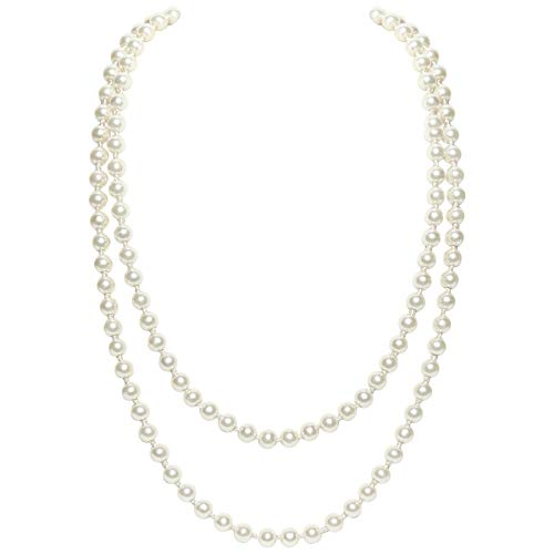 Flapper Baby Costume (BABEYOND Art Deco Fashion Faux Pearls Necklace 1920s Flapper Beads Cluster Long Pearl Necklace for Gatsby Costume Party 59)