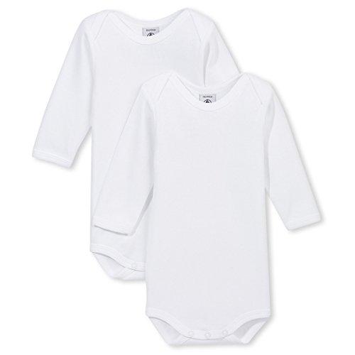Petit Bateau Unisex Baby 2 Pack Long Sleeve Bodysuits, White, 12 Months