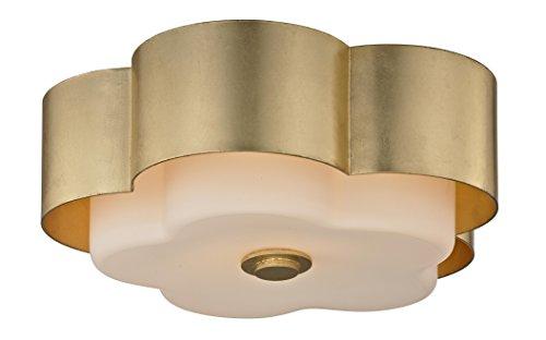 Troy Lighting C5651 Allure 2-Light Celling Flush Mount - Gold Leaf - Opal White Glass ()