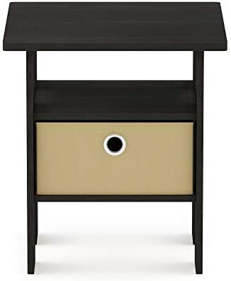 picture of Furinno End Table Bedroom Night Stand w/Bin Drawer, Espresso