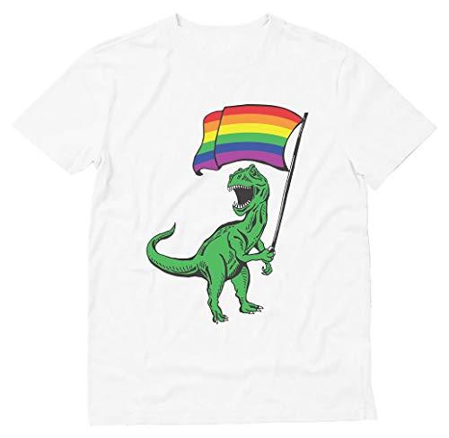 Tstars - T-Rex Rawr Pride Parade Gay & Lesbian Rainbow Flag T-Shirt Large White ()