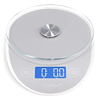GreaterGoods Food Digital Kitchen Scale, Weight Grams and Oz for Baking and Cooking (2020 (Grey & Glass)