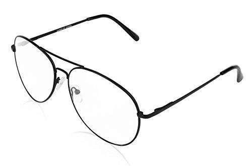 E&H Aviator Sunglasses for Men Black Gun Metal Clear Lens - Glases Fake