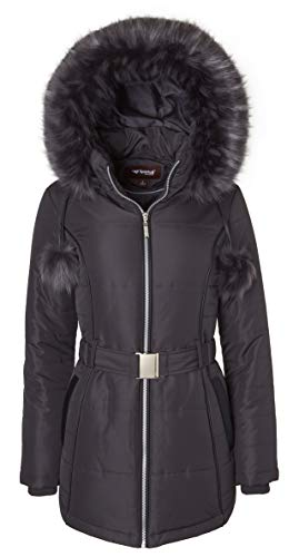 Women's Down Alternative Long Belted Puffer Coat Fur Trim Detachable Hood - Hematite (Largre) - Trim Hooded Down Coat