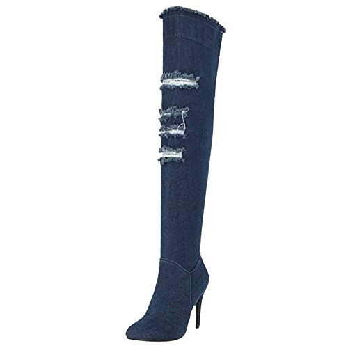 Boots Thigh Zipper Dark Stiletto Half Blue Women Coolcept Fashion zIx11v