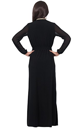 KOH KOH® La Mujer Vestido maxi cuello halter manga larga Negro