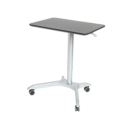 Seville Classics AIRLIFT XL Pneumatic Sit-Stand Mobile Desk Cart, Height-Adjustable from 27.1 to 41.9, Espresso (Cart Go Rolling We)
