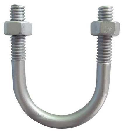 3/8''-16 x 1-1/4'' Pipe Size Plain Aluminum U-Bolt, (Pack of 5)
