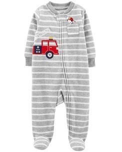 Carter's Little Boys' Football Micro-Fleece Sleeper (3 Months, Grey Stripe Fire -