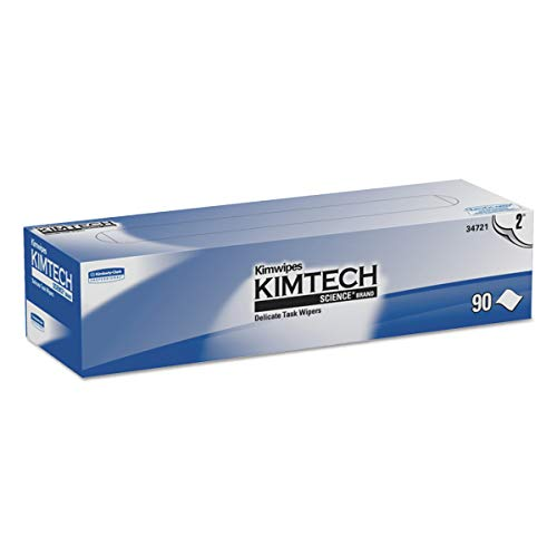 (Kimtech 34721 Kimwipes Delicate Task Wipers, 2-Ply, 14 7/10 x 16 3/5, 90 per Box (Case of 15 Boxes))
