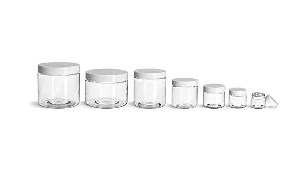 4oz to 16 oz  Clear PET Straight Sided Plastic  Jars w//Smooth Plastic Cap