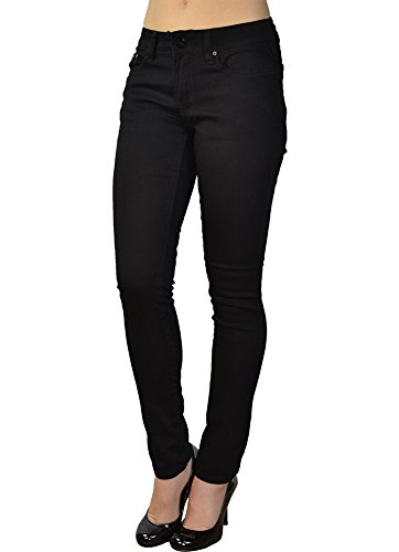 Lightweight Low Rise Jeans - LnLClothing Junior's Low Rise Skinny Solid Color Pants (9, Black)
