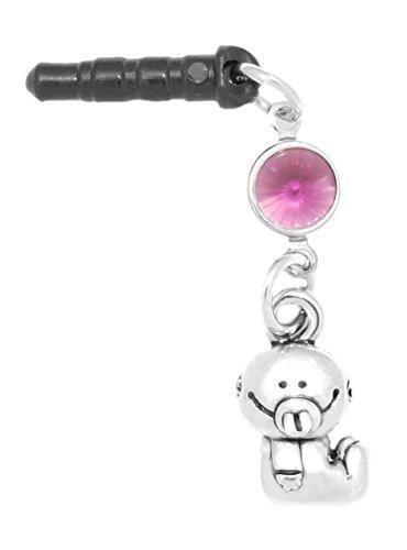 or Boy Phone Charm Amethyst Colored Crystal February Black Plug (February Boys Charm)