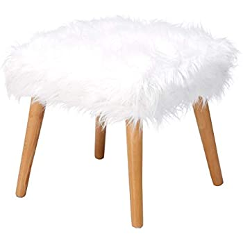 Christopher Knight Home Living Hudson Mid-Century Faux Fur Ottoman (White)