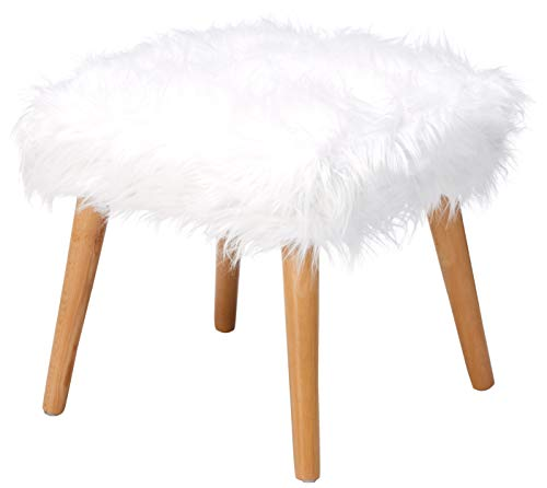 Christopher Knight Home Living Hudson Mid-Century Faux Fur Ottoman (White) (Furry Stool Vanity)
