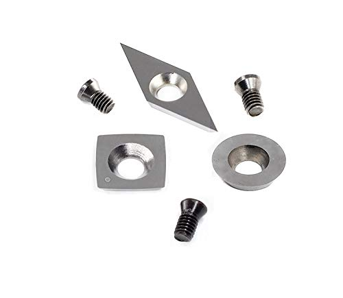YUFUTOL 3pcs Tungsten Carbide Cutters Inserts Set for Wood Lathe Turning Tools(Include 11mm Square With Radius,12mm Round,28x10mm Diamond With sharp point),Supplied with Screws ()