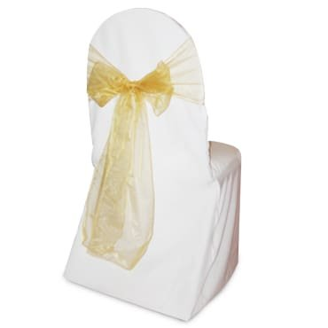 SPRINGROSE 50 Gold Wedding Organza Chair Sashes. These Are a Wonderful Decoration for Your Chairs. Be Sure and Add Them to Your List of Party Supplies.