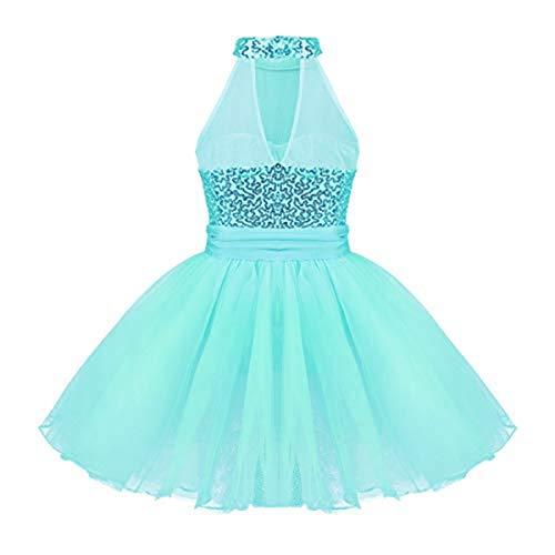 - iEFiEL Kids Girls' Sequined Camisole Ballet Tutu Dress Ballerina Leotard Outfit Dance Wear Costumes Lake Blue 7-8