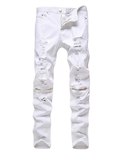 Vaqueros Hombre Biker Denim Pantalones Slim Fit Estilo de Diseño Blanco1