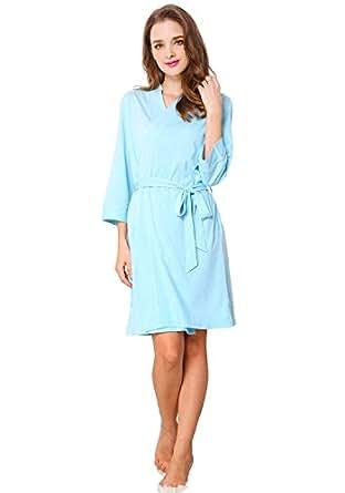 Godsen Women's Cotton Robe Kimono Bathrobe Short Sleepwear (XXS, Blue)