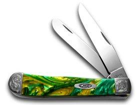 CASE XX Engraved Bolster Series Genuine Cats Eye Corelon Trapper Pocket Knives