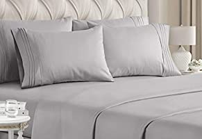 CGK Unlimited Queen Size Bed Sheet Set - White Sheets - Flat Sheet Fitted Sheet 4 Pillow Cases - Extra Deep Pockets -...
