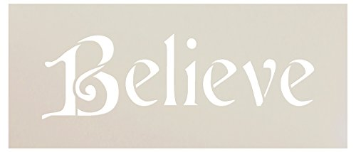 Believe Stencil by StudioR12 | Elegant Christmas Word Art | Reusable Mylar Template | Painting, Chalk, Mixed Media | Use for Journaling, DIY Home Decor | Select Size (7 x 3)