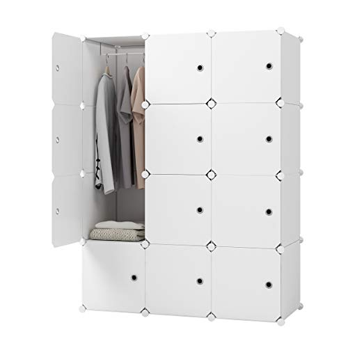 KOUSI Bedroom Armoire Portable Closet Armoire Clothes Armoire Wardrobe Armoire Storage Armoire Organizer with Doors, Capacious Sturdy (White, 9 Cubes + 1 Hanger) (Wardrobe White Armoire)