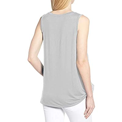 MODARANI Cold Shoulder Tops for Women Knot Twisted Front Casual Tunic Tops Comfy at Women's Clothing store