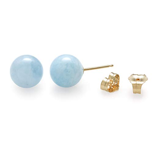 14K Yellow Gold 8mm Genuine Milky Aquamarine Blue Gemstone Stud Earrings