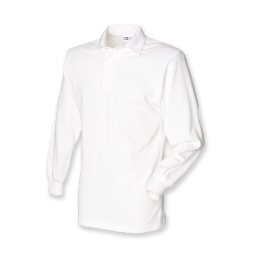 Front Row Long Sleeve Classic Rugby Shirt, 14 colours, Small - White/White - XL