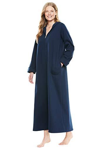 Dreams & Co. Women's Plus Size Hooded Fleece Robe - Navy, M