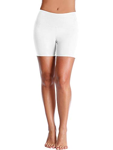 Cadmus Women's High Waisted Compression Shorts,1 Pack,1025,White,Large