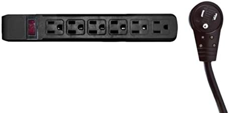 6 Outlet Surge Protector 15A 120V with Flat Rotating Plug 15ft Power cord 3 Prong 6 Outlet Power Strip with 15 Feet Power Cable and 360 Degree Rotating Plug, Black CNE471148 10 Pack