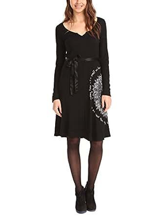 Desigual Desigual - Vestido de manga larga para mujer, color negro 2000, talla 36