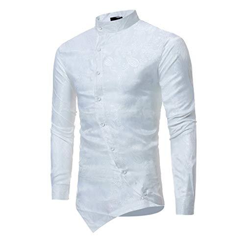 Spring T-shirt Men Ethnic Bronzing Print Irregular Stand Collar Slim Fit Top