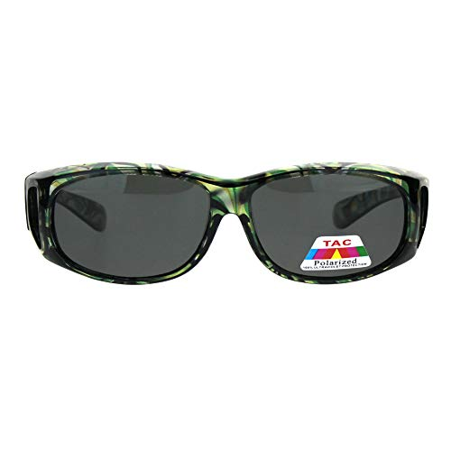 Polarized Womens Geo Pattern 55mm Rectangle Translucent Plastic Fit Over Sunglasses Green ()