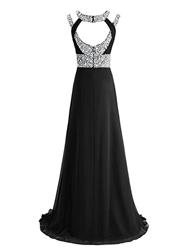 SeasonMall Women's Prom Dress A Line Scoop Chiffon Long Slit Evening Dress Size 6 US Black by SeasonMall (Image #3)
