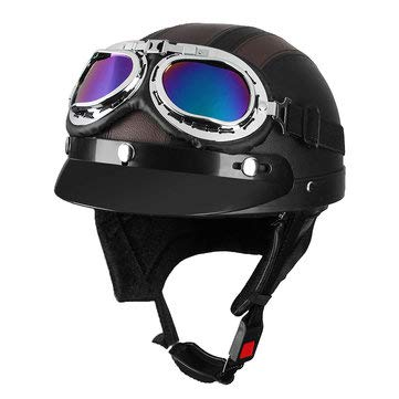 (Motorcycle Scooter Half Helmet Hat Open Face Shield Visor With Sun UV Goggles For Harley - Motorcycle Motorcycle Helmet - (02#))