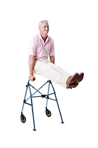 Able Life Space Saver Walker - Lightweight Folding & Height Adjustable Adult Travel Walker for Seniors + Fixed Wheels & Rear Glides - Cobalt Blue by Able Life (Image #5)
