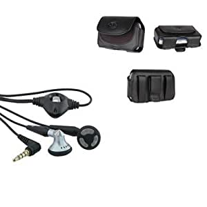Bloutina 2in1 Leather Case With Belt Clip+Stereo Headset Headphone Bundle For Alcatel One Touch-Auction4tech Brand
