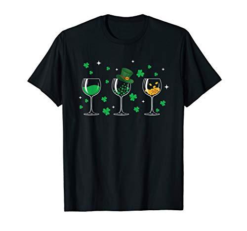 Three wine glasses shamrock Shirt St Patricks day Irish gift