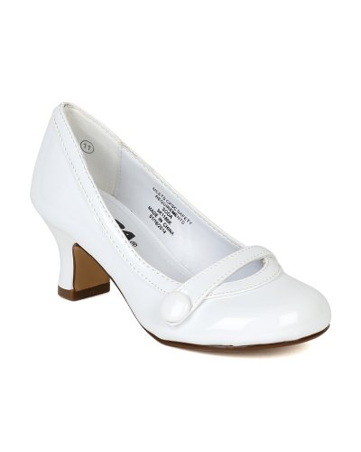 Patent Round Toe Strip Decor Kiddie Heel Pump (Little Girl/Big Girl) BA12 - White