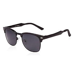 SUNGAIT Classic Half Frame Clubmaster Sunglasses with Polarized Lens (Black Frame Gray Lens)