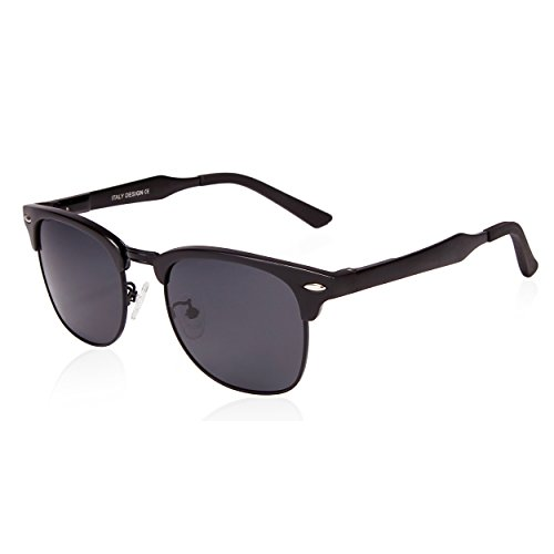 SUNGAIT Classic Half Frame Clubmaster Sunglasses with Polarized Lens (Black Frame Gray Lens)