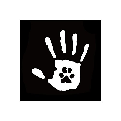 Hand Print w/Paw Print White Vinyl Window SUV Auto Truck Decal Puppy Dog Lab Cat Pet Rescue Waterproof Bumper Sticker Size: 6.2