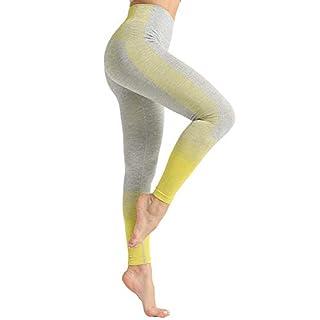 Dressystar High Waist Seamless Leggings for Women Workout Running Yoga Pants Tummy Control Yellow S