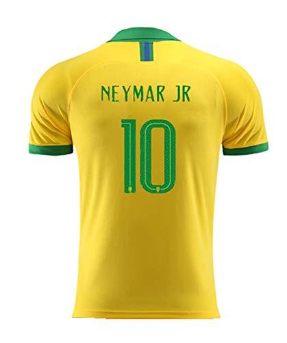 2019 Men's Home Neymar Jr #10 Brazil National Team Soccer Jersey Yellow (M)