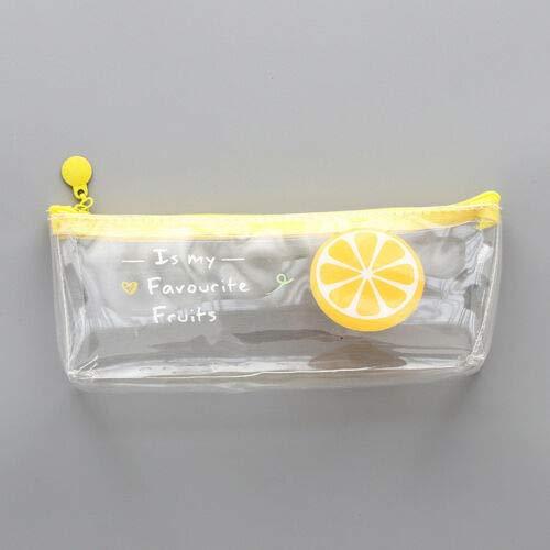 - Newly Cute Kawaii Pencil Case Fruit Transparent PVC Pencil Box School Supplies (Pattern - Orange)